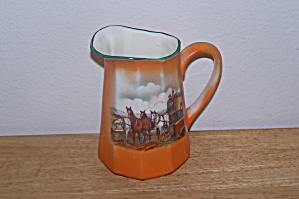 HAND PAINTED CARRIAGE & HORSE SCENE, ORANGE SM. PITCHER (Image1)