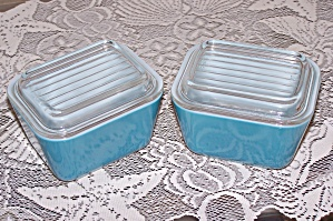 Two Blue Pyrex 1/2 Cup Covered Refrigerator Dishes