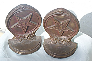 PAIR OF FRATERNAL-MASONIC (EASTERN STAR) BOOKENDS (Image1)
