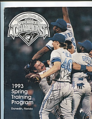1993 TORONTO BLUE JAYS SPRING TRAINING PROGRAM, DUNEDIN (Image1)