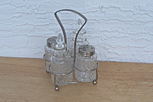 Glass Salt, Pepper Shakers & Cruets In Holder