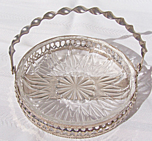 Glass Candy Dish In Handled Holder