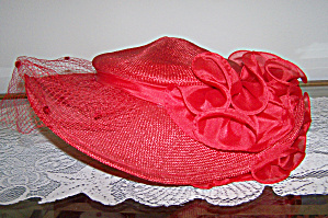 Sonni Red Straw Hat W/veil & Bow