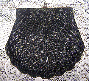 Adg Black Beaded Evening Bag