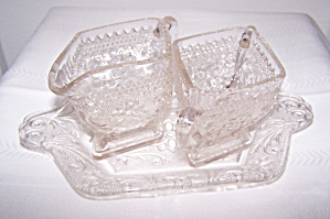 INDIANA GLASS CREAM, SUGAR & TRAY SET (Image1)