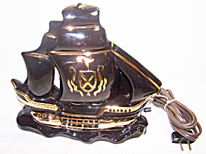 Black With Gold Ship Tv Lamp