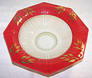Console Bowl, Frosted Glass, Red W/gold Trim, Octagon