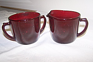 Ruby Red Glass Cream & Sugar Set