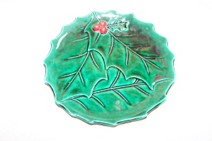 Lefton Green Holly Leaf 9 In. Plate