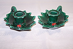 LEFTON GREEN HOLLY LEAF  PR. OF LOW CANDLESTICK HOLDERS (Image1)