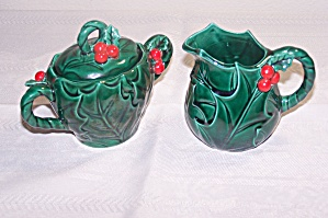 Lefton Green Holly Leaf Cream & Sugar Set
