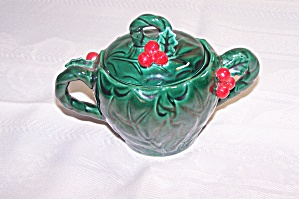 Lefton Green Holly Leaf Covered Sugar
