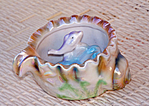 Lusterware Ashtray With Dolphin
