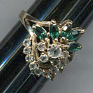 Green Stones & Rhinestones Cocktail Ring