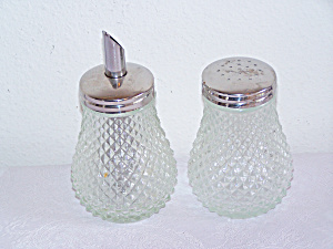 Glass Sugar Shaker And Salt Shaker, Raised Quilted Diam