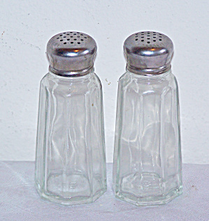 Pair Tall GLASS SALT and PEPPER Shakers (Image1)