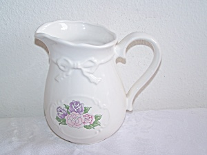 White Ceramic PITCHER with Roses Applique and BOW (Image1)