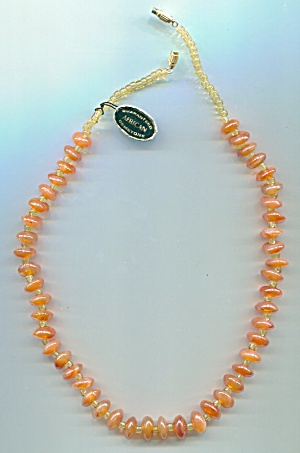 AMBER COLORED GLASS AFRICAN GEMSTONE NECKLACE (Image1)