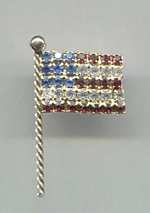 RED, WHITE & BLUE RHINESTONE FLAG PIN by Rafaelian (Image1)
