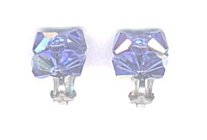 Blue Aurora Borealis Crystal Earrings
