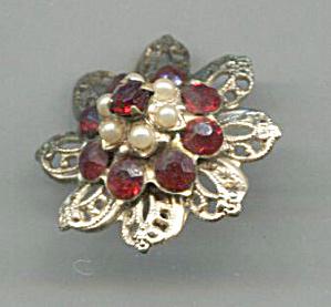 Tiny Red Rhinestones & Pearls Pin