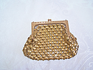 Whiting & Davis Co. Gold Mesh Bag with Shell Design (Image1)