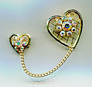 Double Chained Rhinestone Hearts Pin