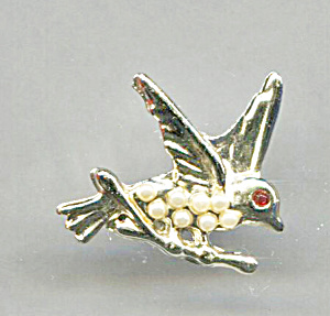 GOLD TONE BIRD WITH SEED PEARL BODY PIN (Image1)