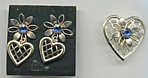 Heart W/flower & Blue Stone Pin & Earrings Set
