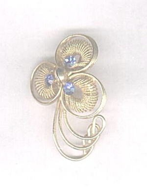 Blue Rhinestone Pin With Goldtone Mesh Design