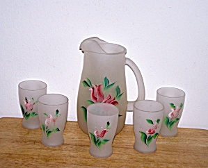 Frosted Juice Pitcher & 5 Matching Glasses