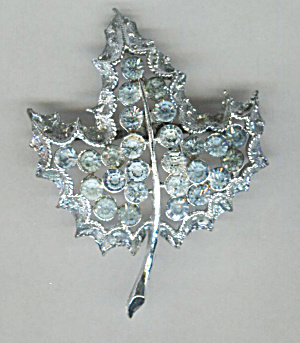 Pale Blue Rhinestones In Silver Tone Leaf Shaped Pin