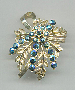 Blue Stones In Gold Tone Metal Leaves Design Pin