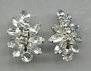 Clear Rhinestone Clip-back Earrings