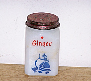 WHITE MILK GLASS GINGER SHAKER, DUTCH THEME (Image1)
