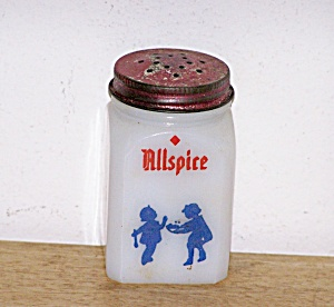 WHITE MILK GLASS ALLSPICE SHAKER, DUTCH THEME (Image1)