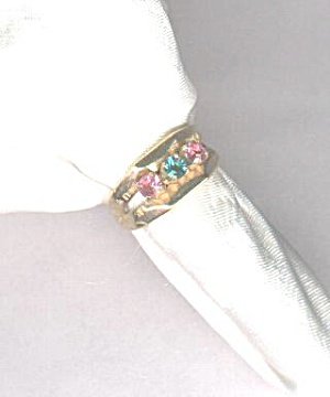 Sarah Coventry Blue & Pink Stones Ring