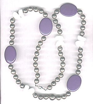 SILVERTONE METAL, PURPLE & WHITE DISCS NECKLACE (Image1)