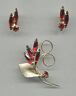 RED GLASS STONES PIN & EARRINGS SET (Image1)
