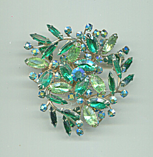 LARGE SWIRLING DESIGNED GREEN RHINESTONES PIN (Image1)