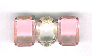 LARGE PINK & CLEAR PLASTIC STONES BAR PIN (Image1)