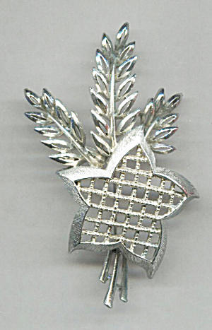 Lisner Shafts Of Wheat & Star Silver Tone Metal Pin