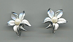 Trifari Silver Clip-back Earrings W/faux Pearl Center