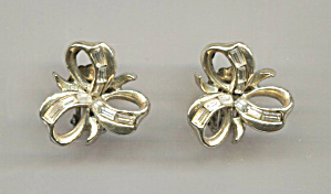 Gold Tone Bows W/clear Rhinestones Clip-back Earrings