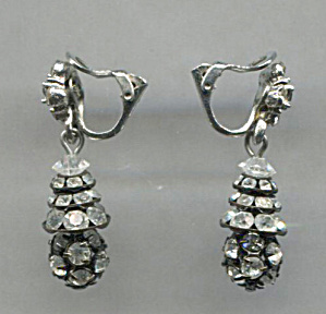 Cler Rhinestones & Black Clip-back Earrings