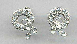 Carl Art Clear Rhinestone Screw-back Earrings