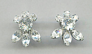 Navette & Chaton Clear Rhinestone Screw-back Earrings