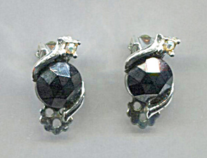 Solitary Black Glass Clip-back Earrin