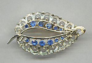Blue Rhinestones In Open Leaf Gold Tone Metal Pin