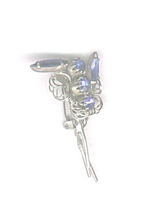 BLUE RHINESTONES IN WIRE METAL PIN (Image1)